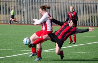 EE 26/02/2017 SPORT - Louise Molloy of Combined Counties managed to get a touch ahead of Cork's Miriam Reardon during the recent Senior Ladies Inter County League at Mayfield Park. Picture: Howard Crowdy