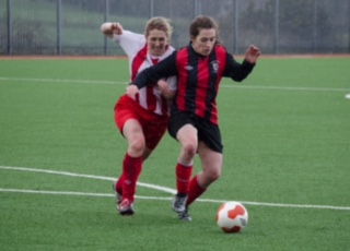 EE 26/02/2017 SPORT - Cork's Melissa Finn battles for possession with Emma Kirwan of Combined Counties during the Senior Ladies Inter County League at Mayfield Park. Picture: Howard Crowdy