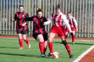 EE 26/02/2017 SPORT - Cork's Catherine Cooke battles with Donna Murray of Combined Counties during the Senior Ladies Inter County League at Mayfield Park. Picture: Howard Crowdy
